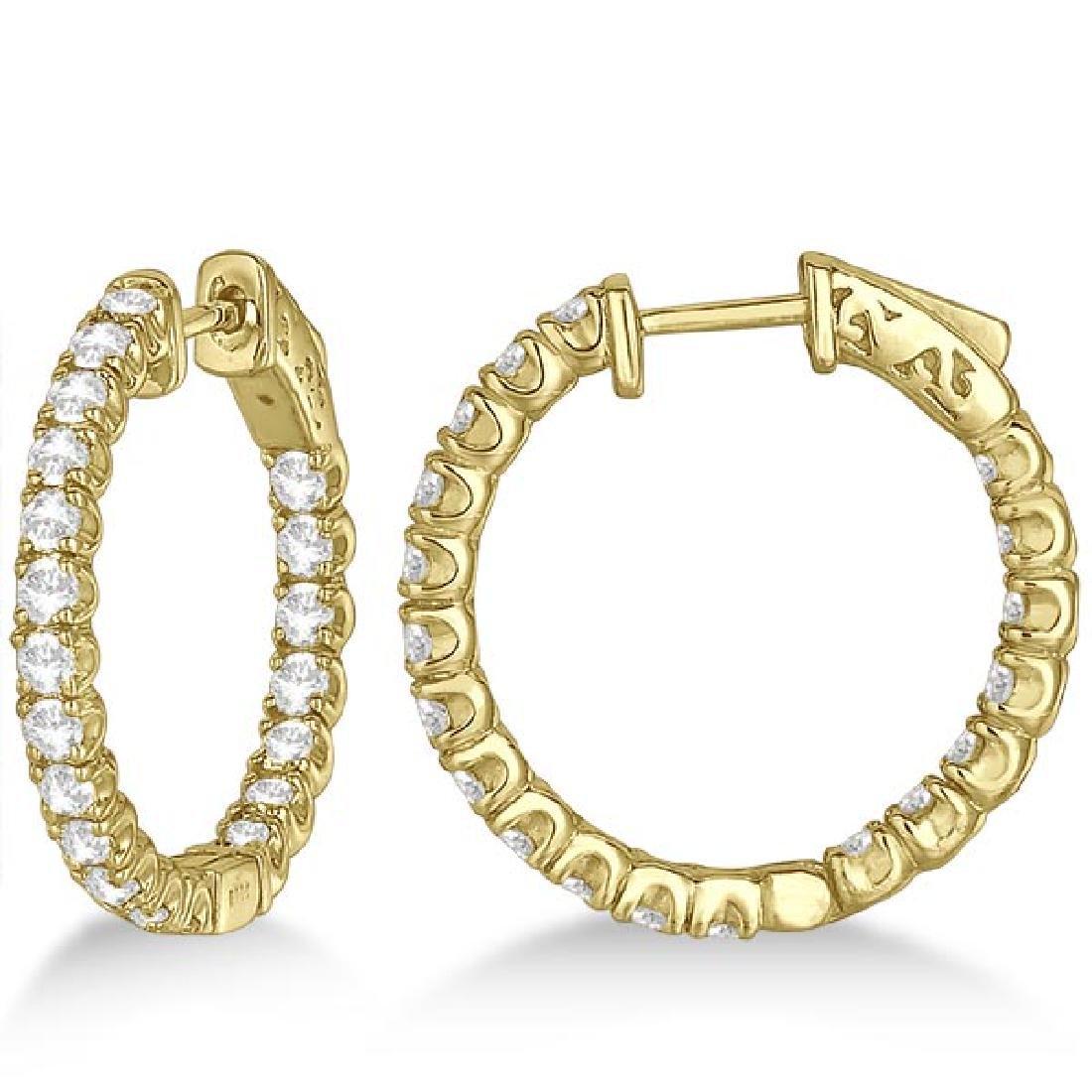 Medium Round Diamond Hoop Earrings 14k Yellow Gold (2.0