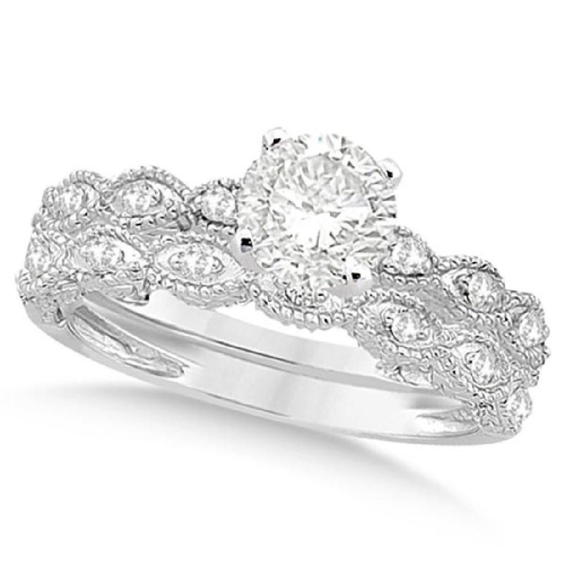Petite Antique-Design Diamond Bridal Set in 14k White G
