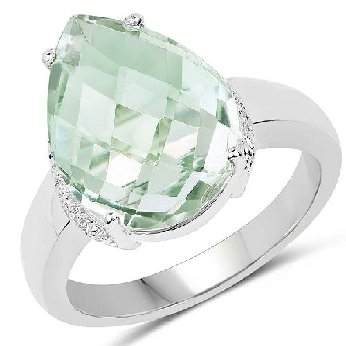 7.40 Carat Genuine Green Amethyst .925 Sterling Silver