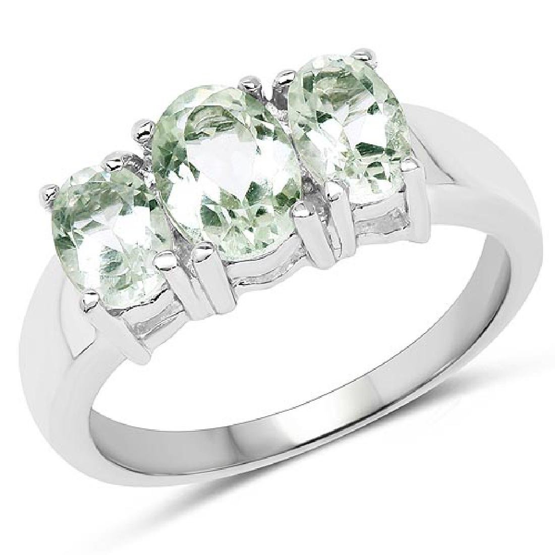 1.70 Carat Genuine Green Amethyst .925 Sterling Silver
