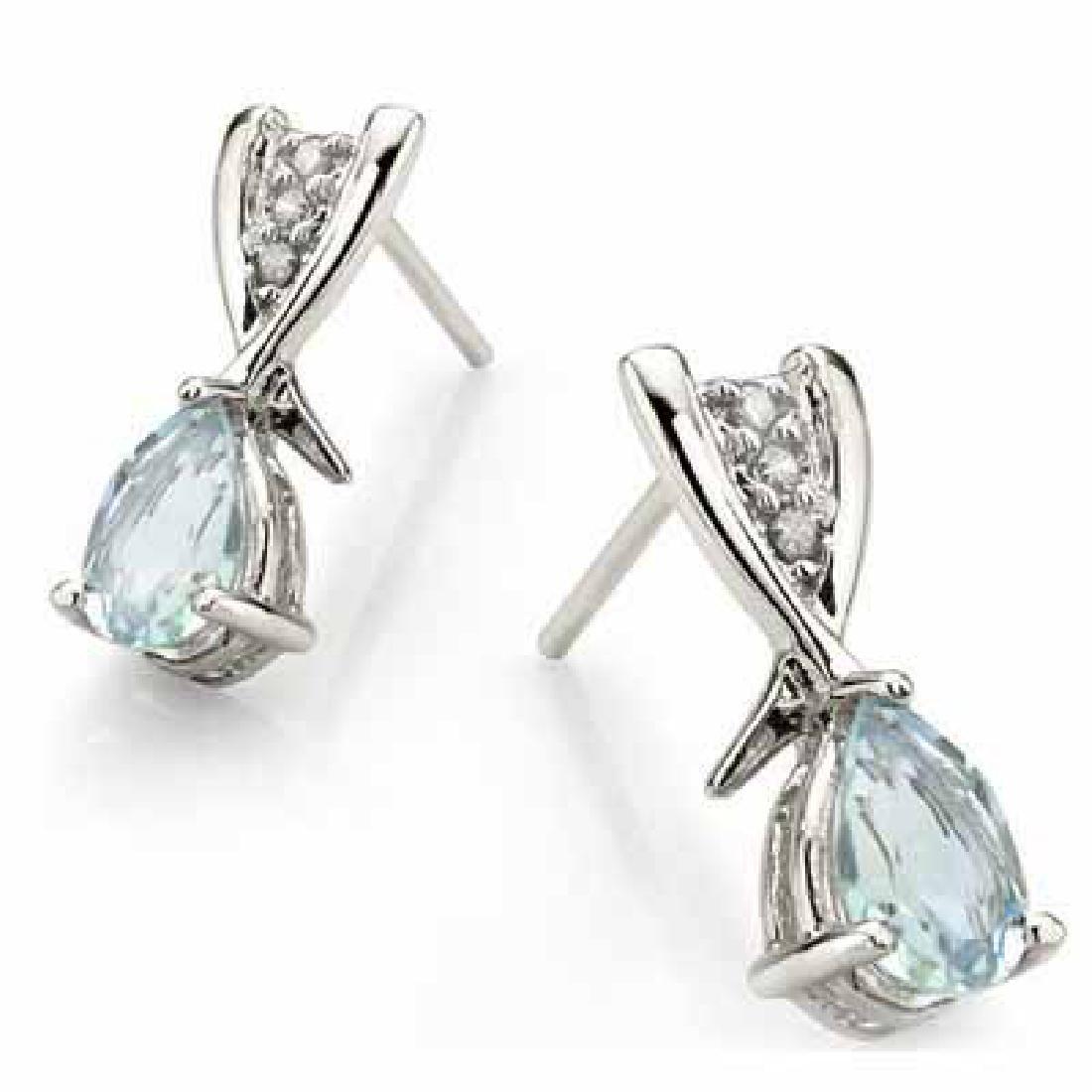 2/3 CARAT AQUAMARINE & DIAMOND 925 STERLING SILVER EARR