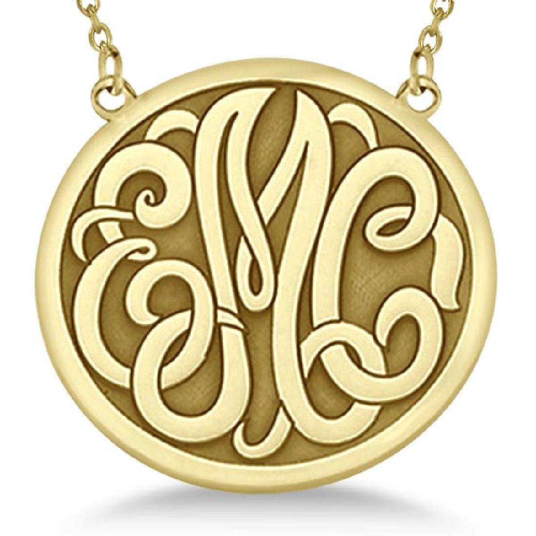 Engraved Initial Circle Monogram Pendant Necklace in 14