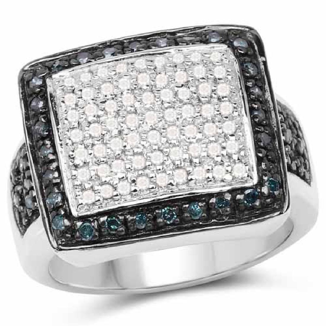 0.64 Carat Genuine White Diamond and Blue Diamond .925