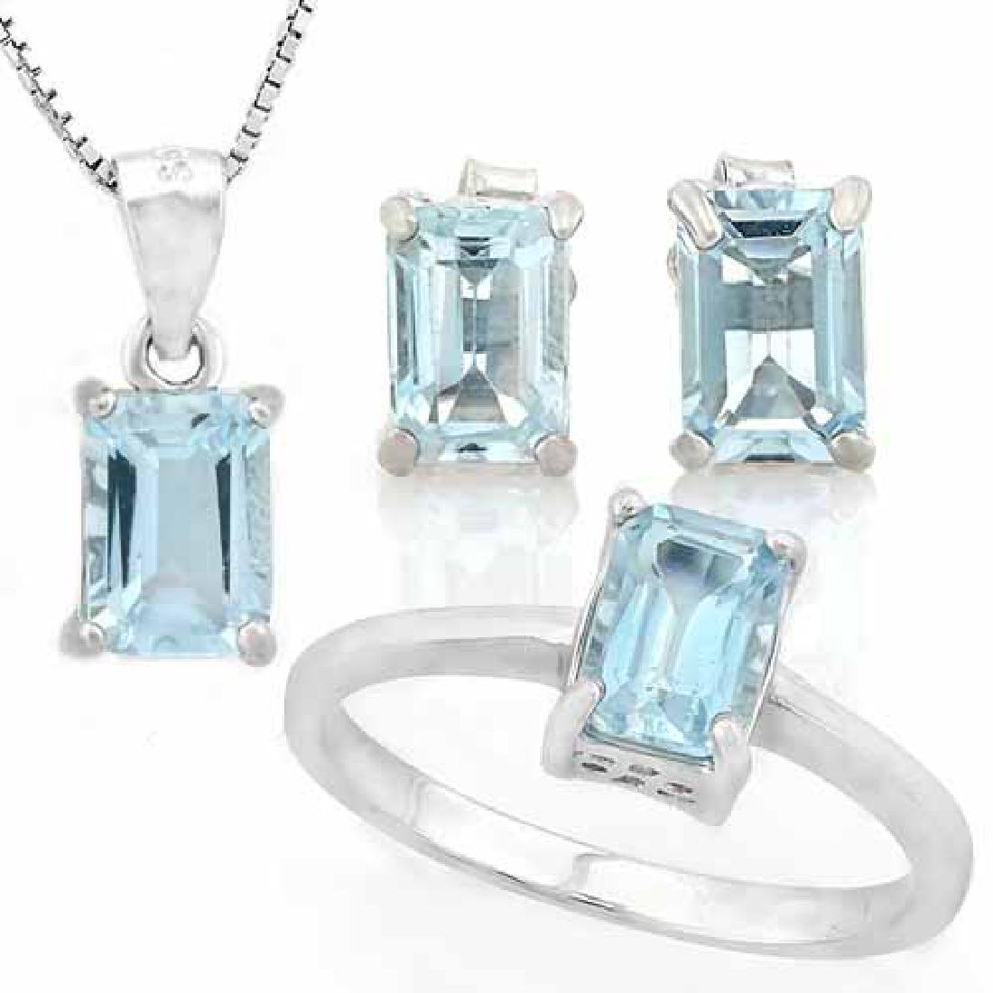 3 CARAT BABY SWISS BLUE TOPAZ 925 STERLING SILVER SET (