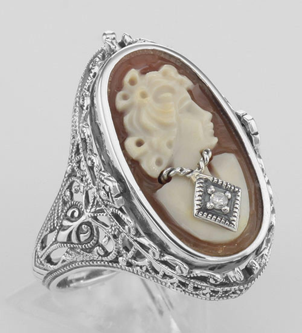 Cameo / Onyx w/ Diamonds Filigree Flip Ring - Sterling