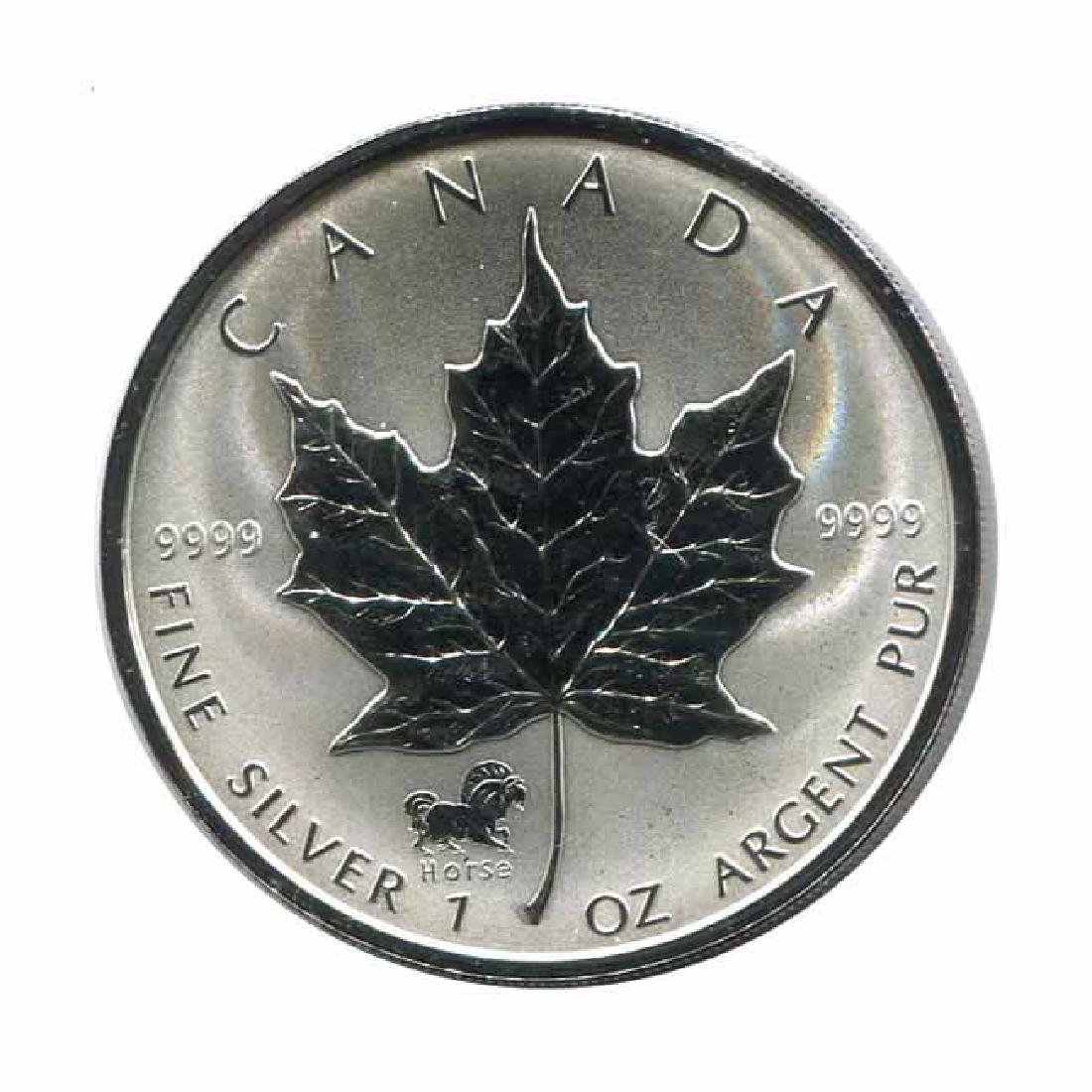 2002 Canada 1 oz. Silver Maple Leaf Reverse Proof Horse