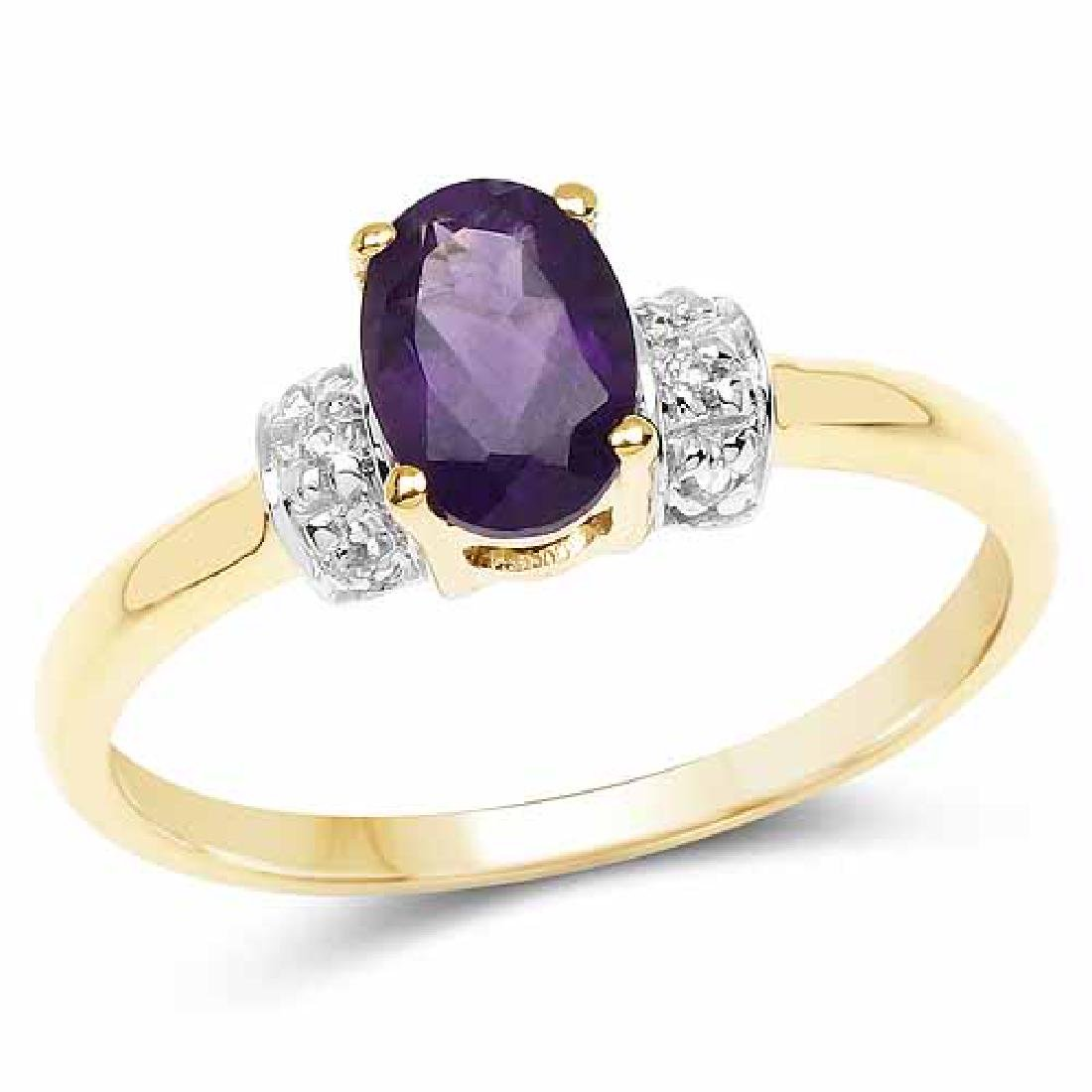 14K Yellow Gold Plated 0.85 Carat Genuine Amethyst and