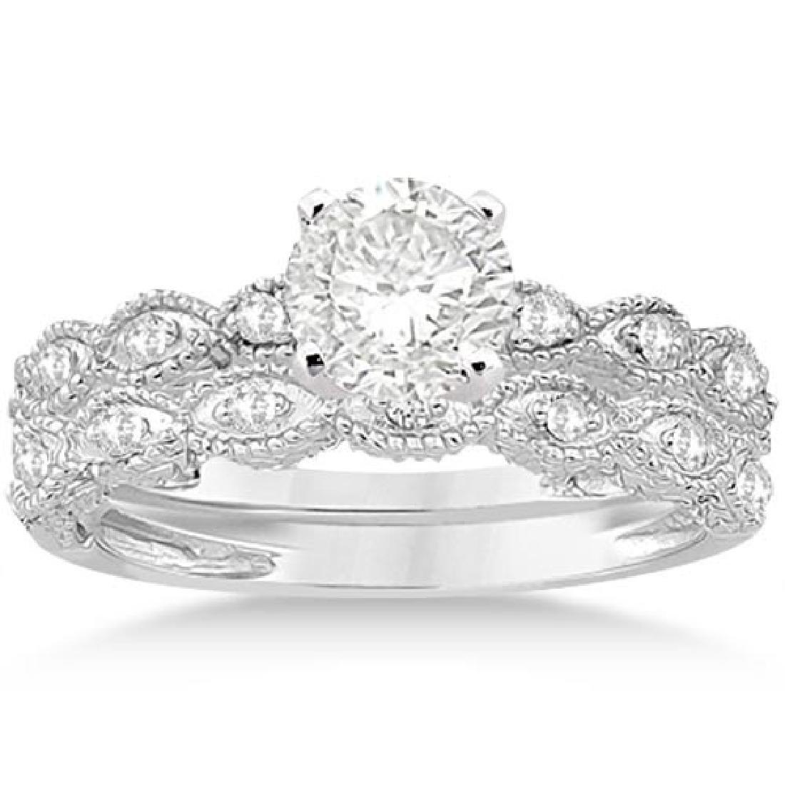Antique Diamond Engagement Ring Set 14k White Gold 1.10