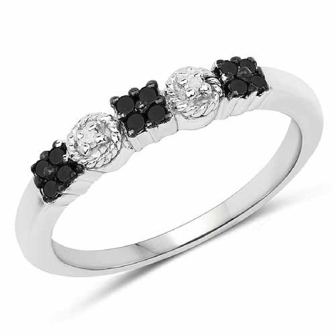 0.15 Carat Genuine Black Diamond and White Diamond .925