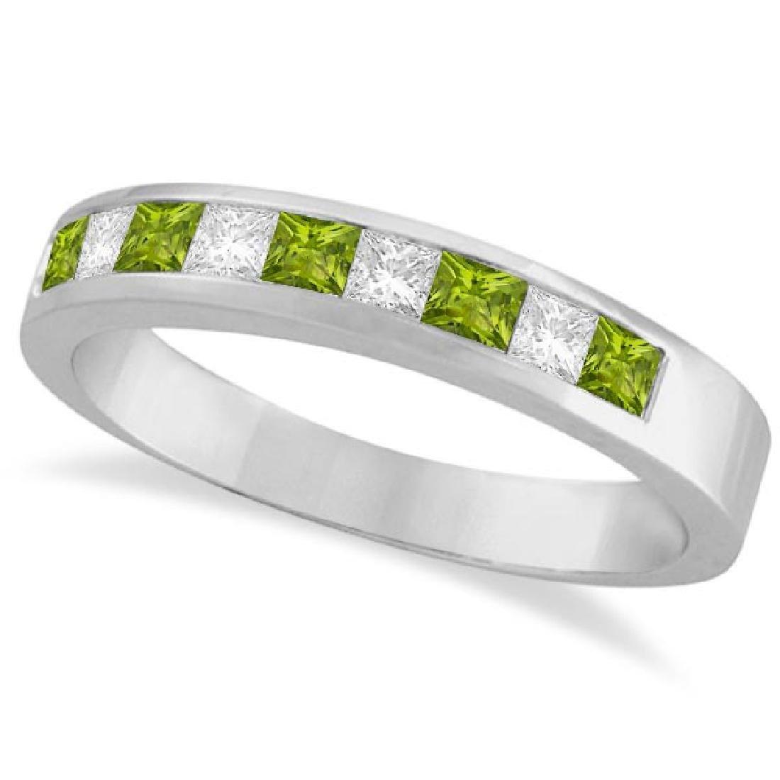 Princess Channel-Set Diamond and Peridot Ring Band 14K