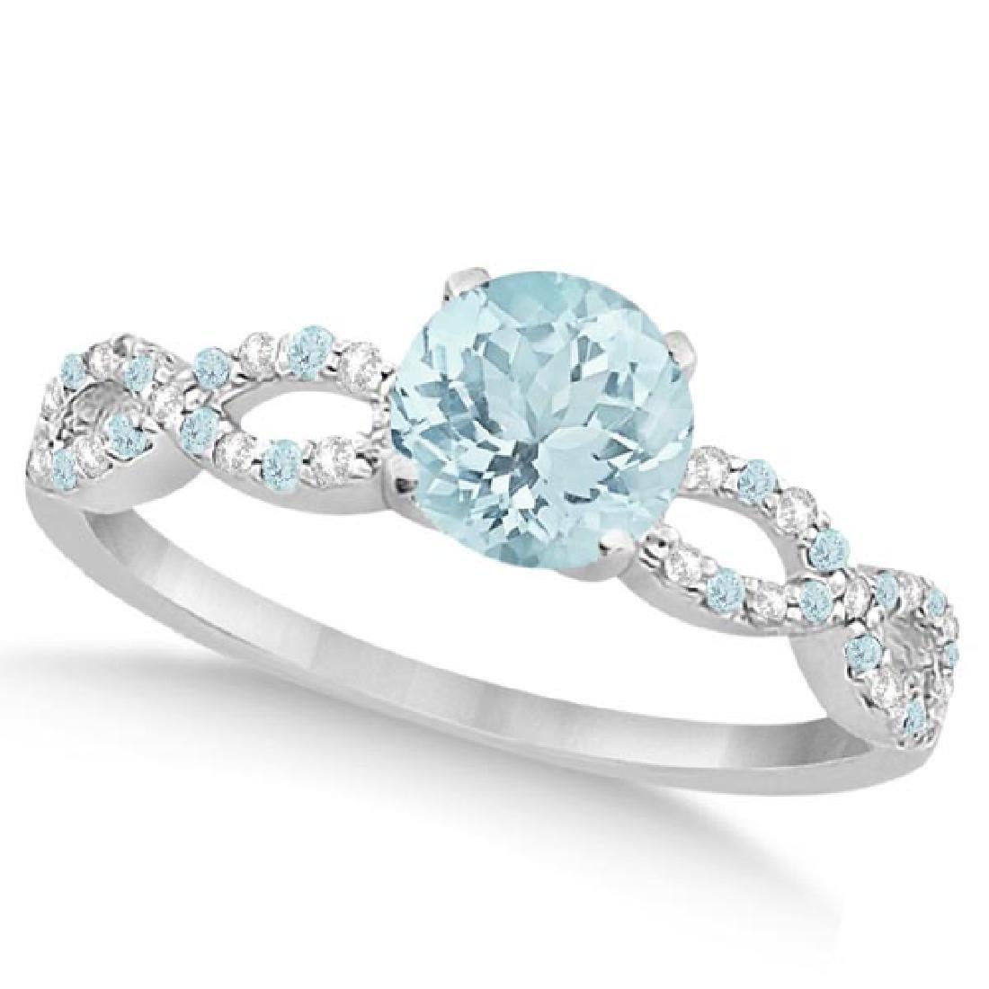 Diamond and Aquamarine Infinity Engagement Ring 14K Whi