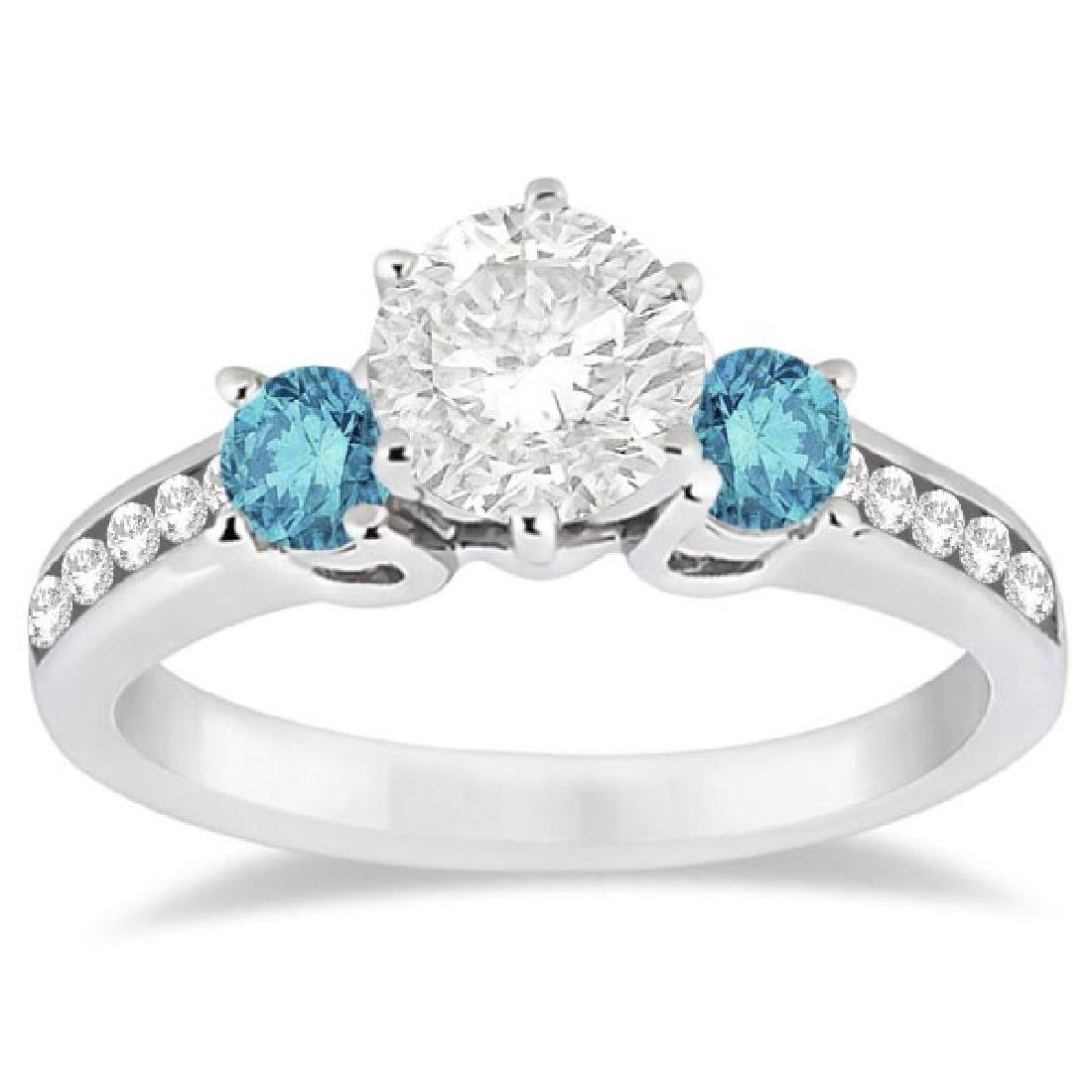 3 Stone White and Blue Diamond Engagement Ring 18K Whit