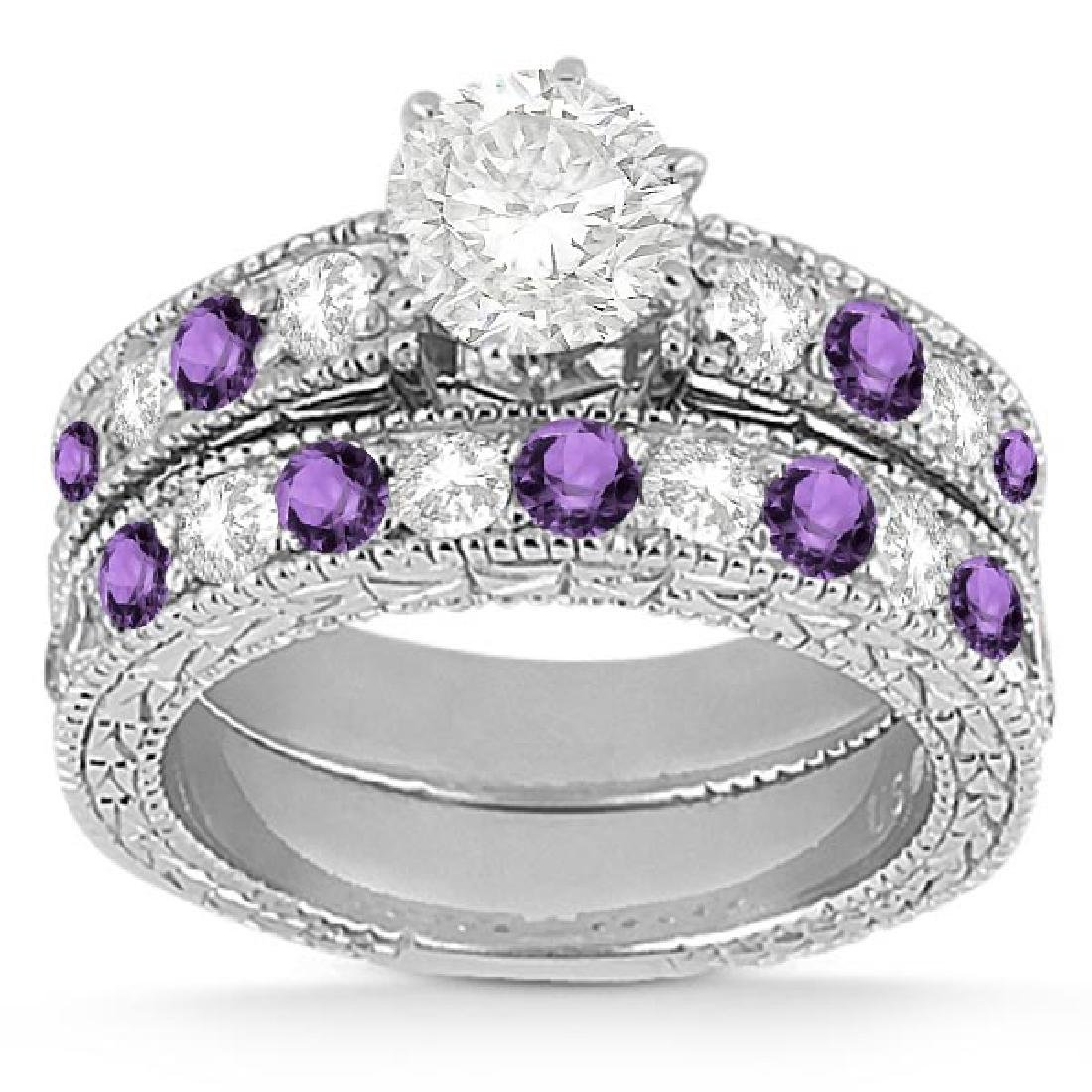 Antique Diamond and Amethyst Bridal Set 14k White Gold