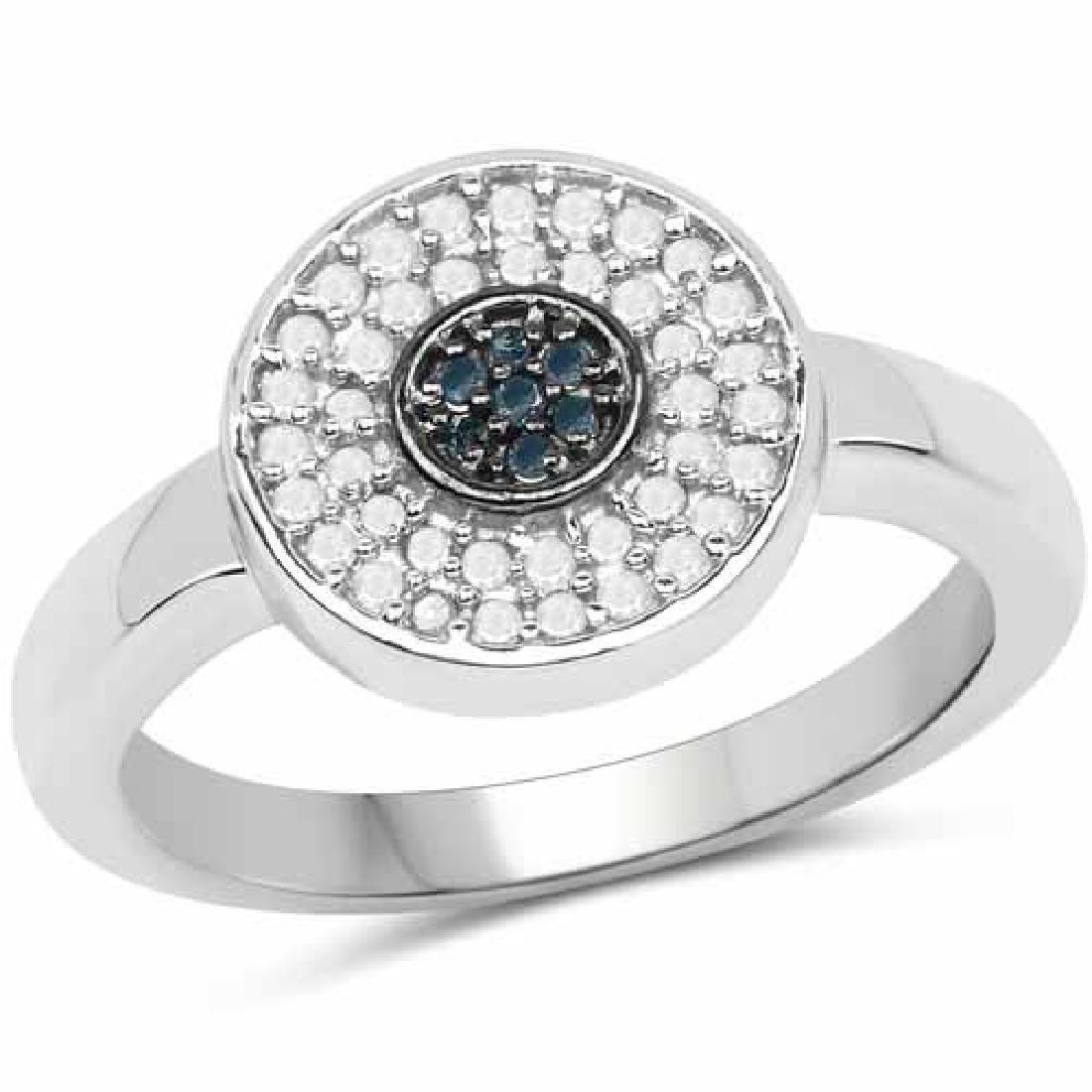 0.20 Carat Genuine Blue Diamond and White Diamond .925