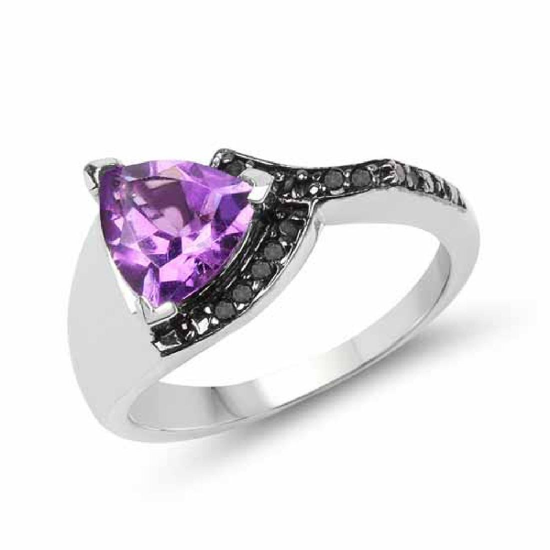 1.55 Carat Genuine Amethyst and Black Diamond .925 Ster