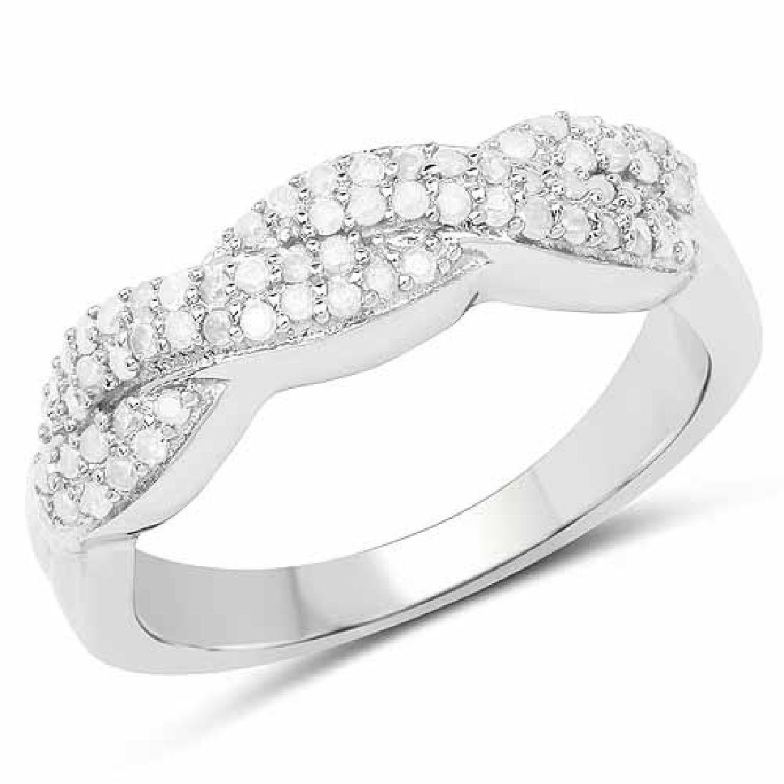 0.34 Carat Genuine White Diamond .925 Sterling Silver R