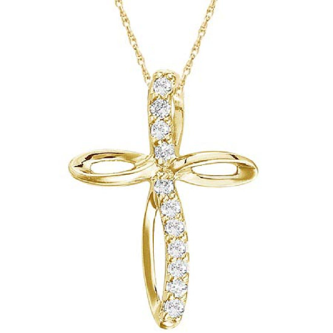 Swirl Diamond Cross Pendant Necklace in 14k Yellow Gold