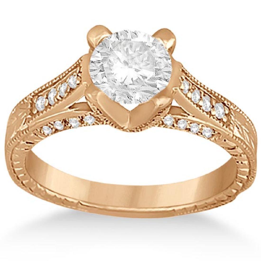 Antique Style Diamond Engagement Ring 14k Rose (0.90ct)