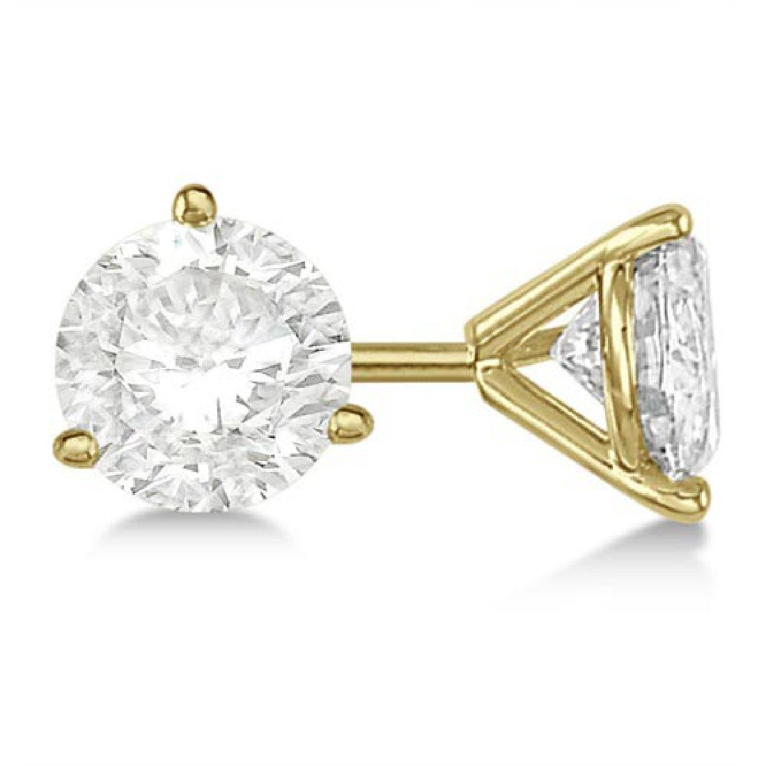 3.00ct. 3-Prong Martini Diamond Stud Earrings 18kt Yell