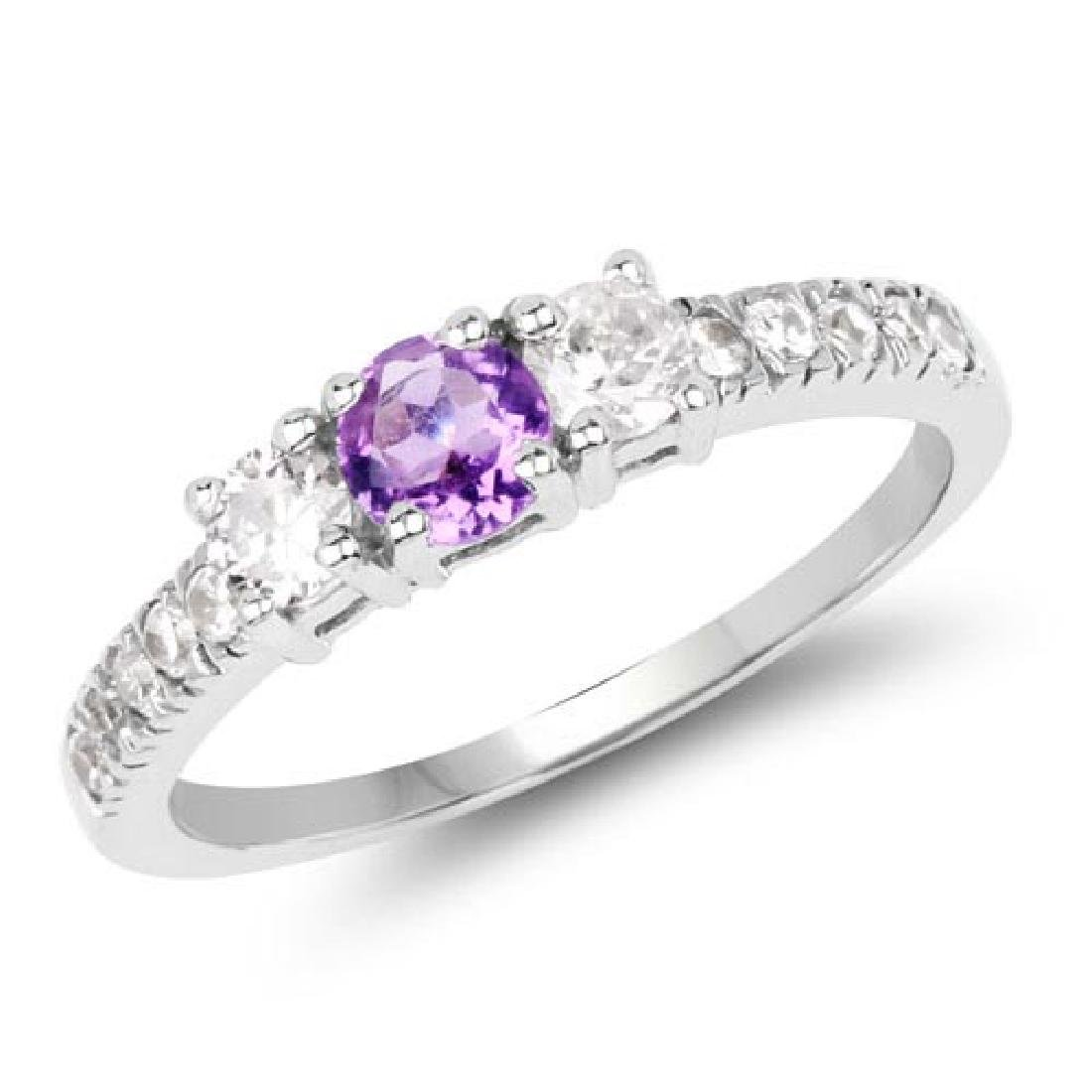 1.52 Carat Genuine Amethyst and White Cubic Zirconia .9