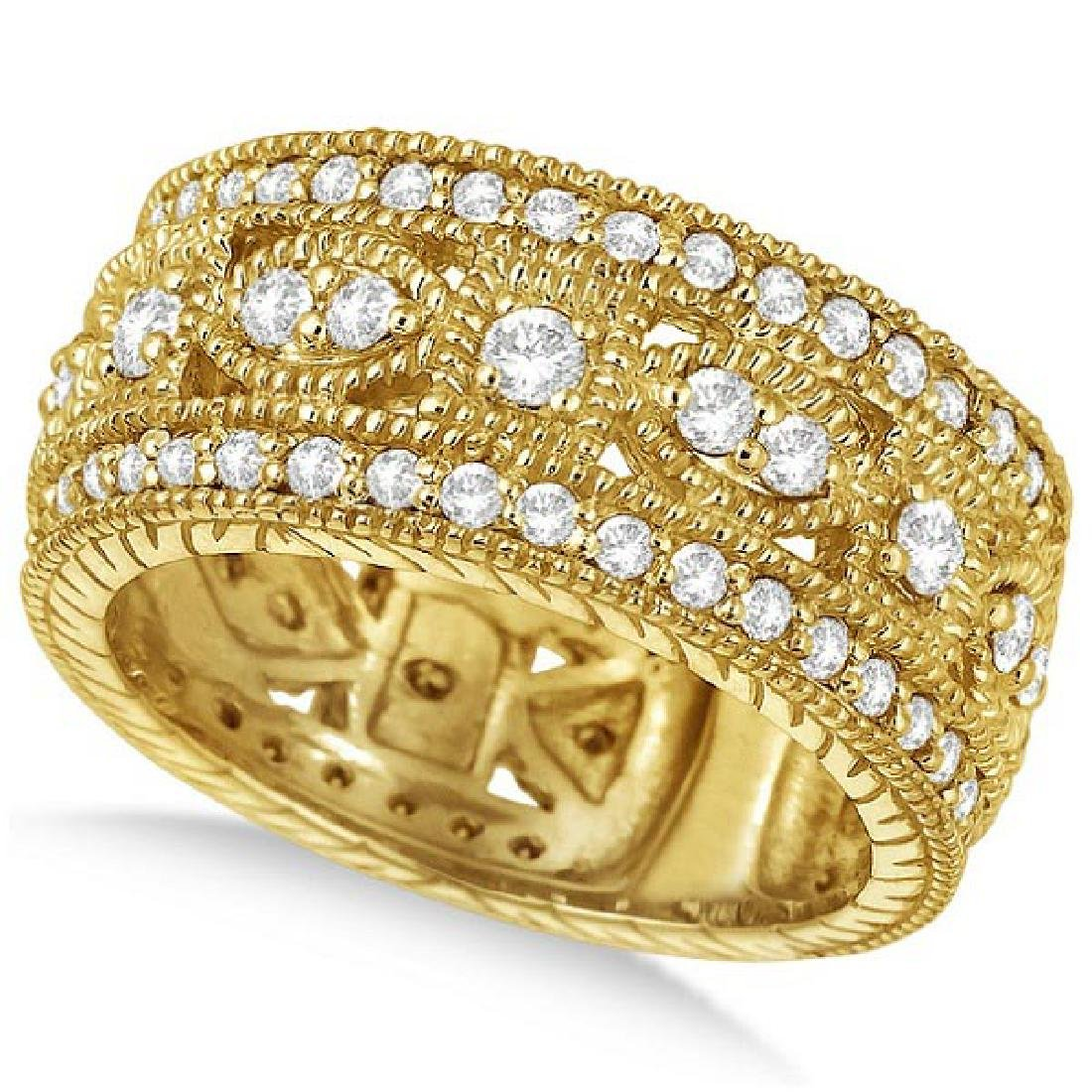 Vintage Byzantine Wide Band Diamond Ring 14k Yellow Gol