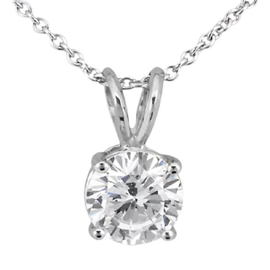 1.00ct. Round Diamond Solitaire Pendant in 18k White Go