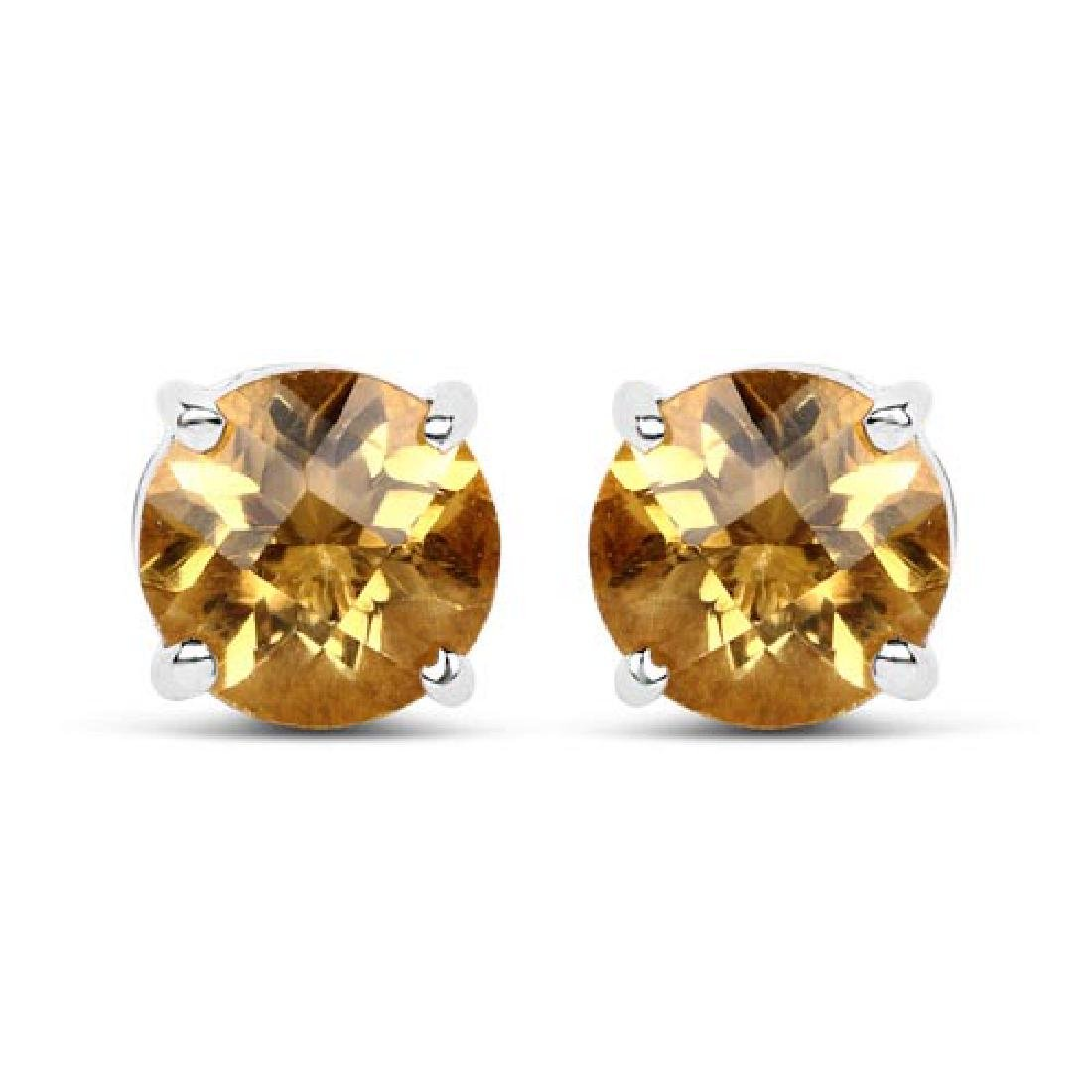 1.38 Carat Genuine Citrine .925 Sterling Silver Earring