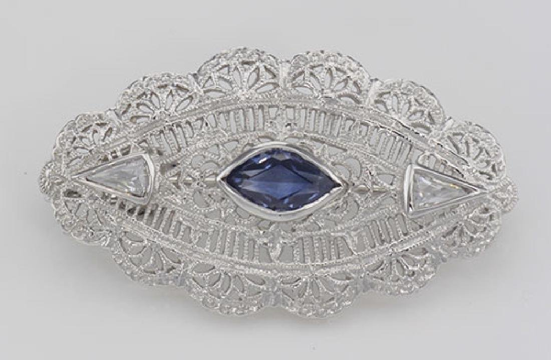 Beautiful Syn Blue Sapphire Filigree Pin / Brooch or Pe