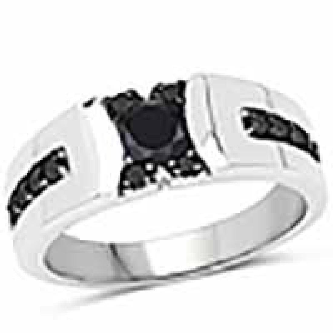 0.83 Carat Genuine Black Diamond .925 Sterling Silver R
