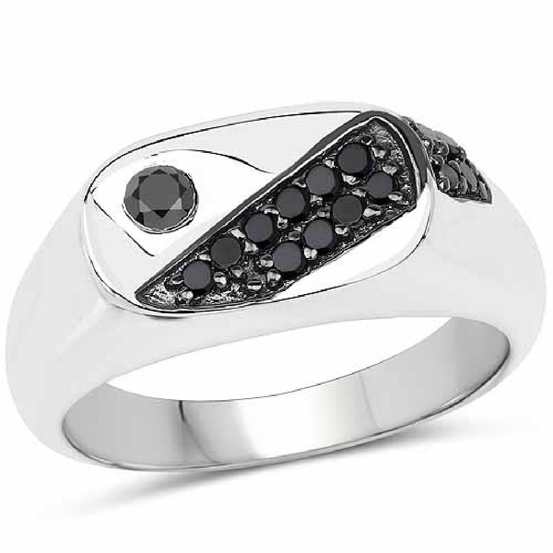 0.31 Carat Genuine Black Diamond .925 Sterling Silver R