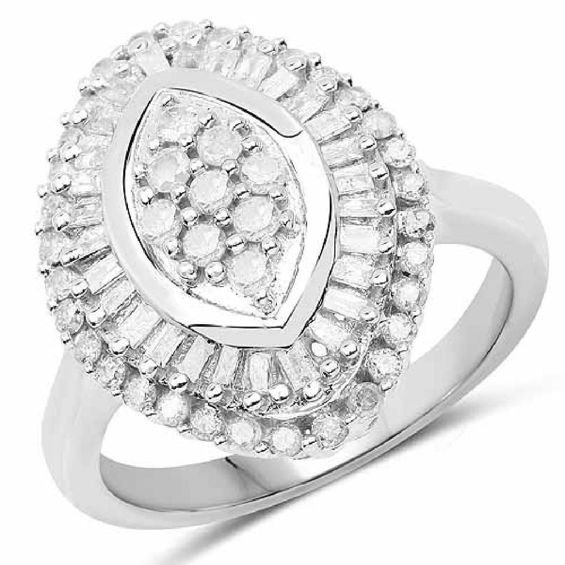 0.85 Carat Genuine White Diamond .925 Sterling Silver R