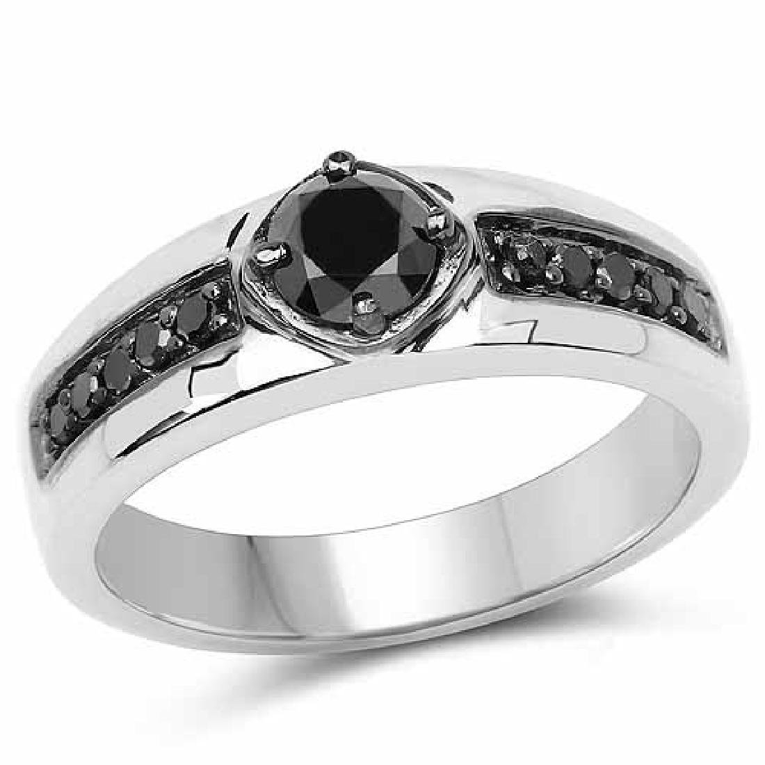 0.65 Carat Genuine Black Diamond .925 Sterling Silver R