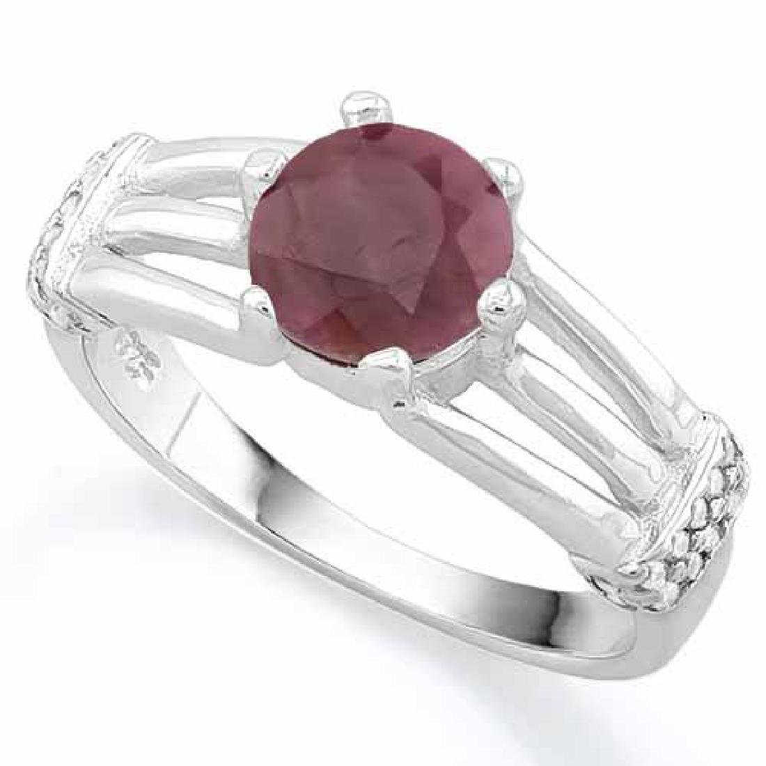 1 3/5 CARAT RUBY & (20 PCS) FLAWLESS CREATED DIAMOND 92