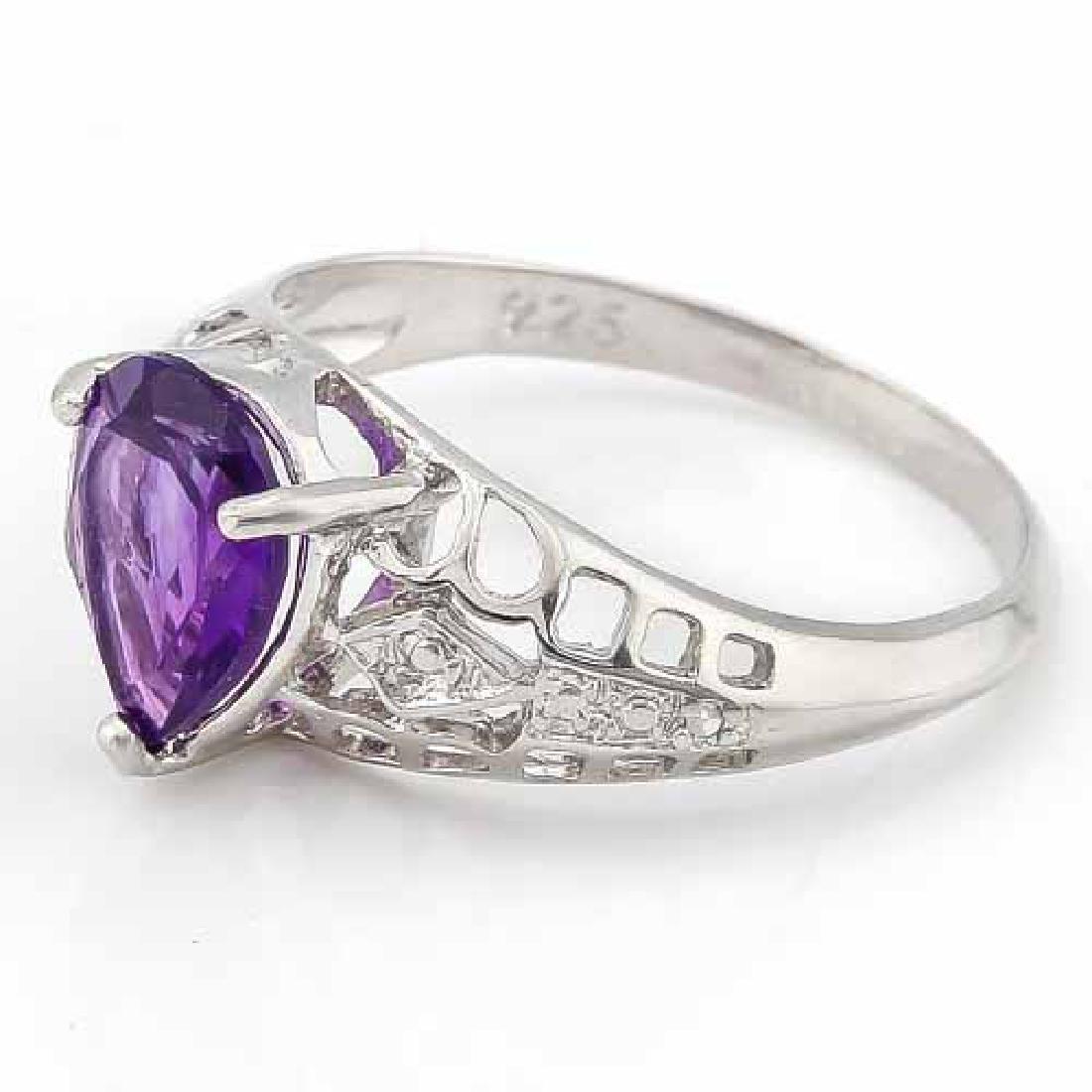 1 CARAT AMETHYST & DIAMOND 925 STERLING SILVER RING