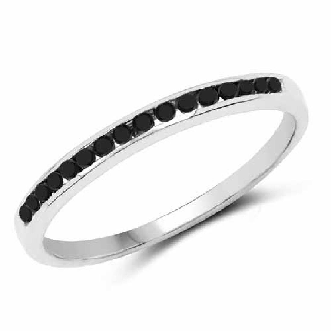 0.18 Carat Genuine Black Diamond .925 Sterling Silver R