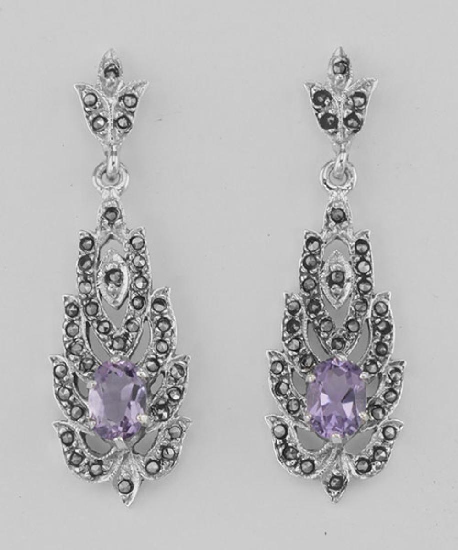Amethyst Marcasite Drop / Dangle Earrings - Sterling Si