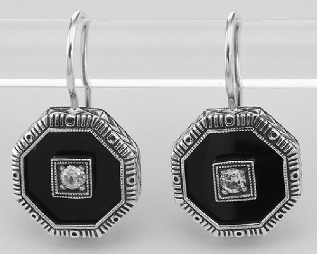 Unique Art Deco Black Onyx and CZ Filigree Earrings - S