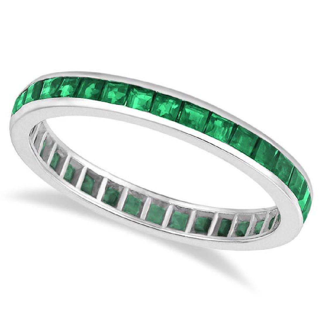Princess-Cut Emerald Eternity Ring Band 14k White Gold