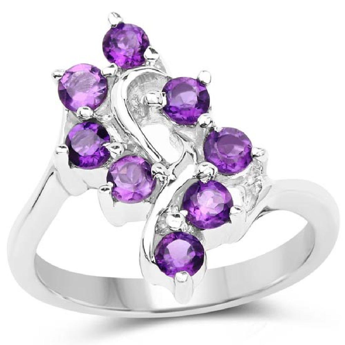 0.80 Carat Genuine Amethyst .925 Sterling Silver Ring