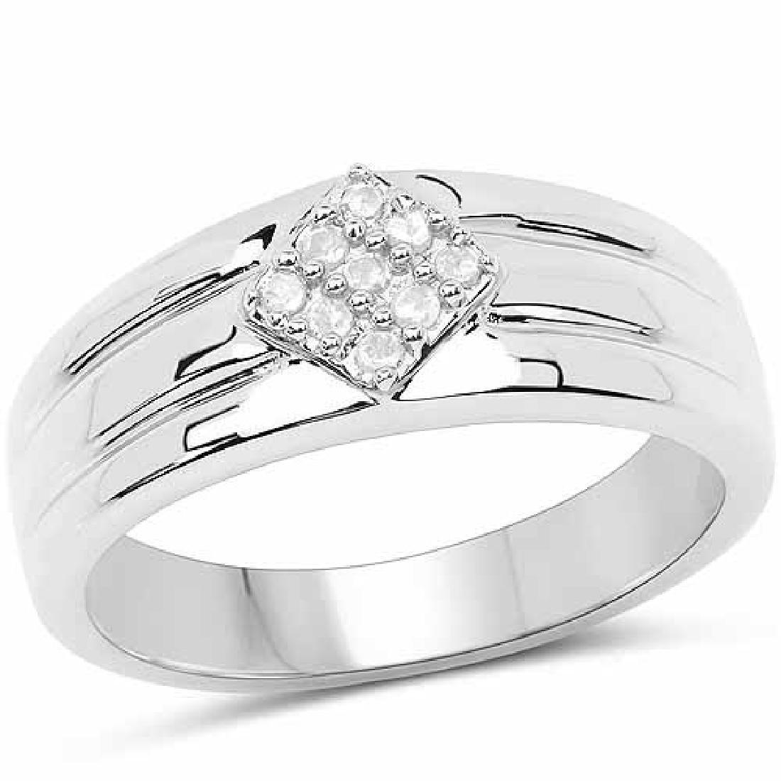 0.14 Carat Genuine White Diamond .925 Sterling Silver R