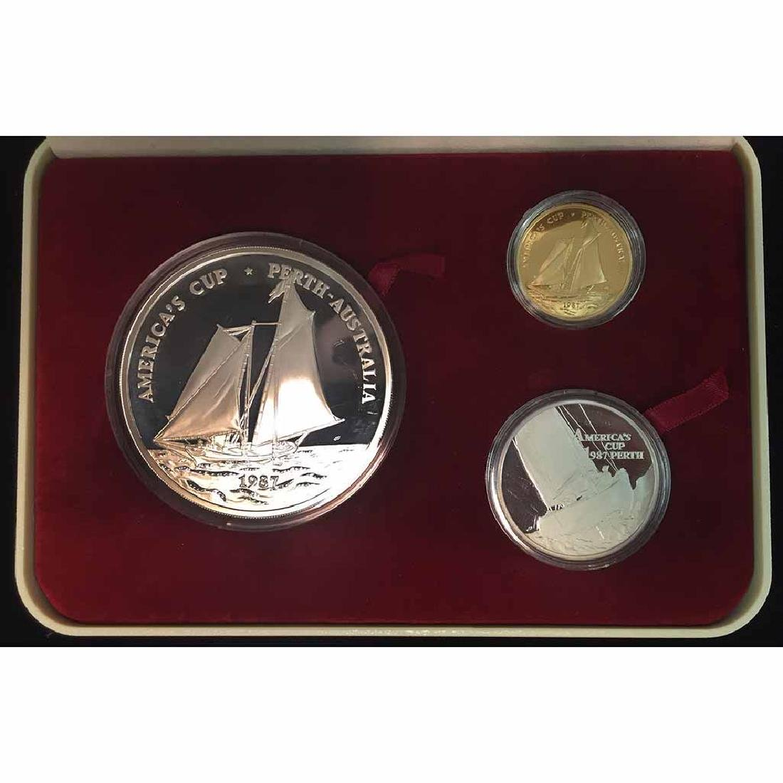 Samoa 3 Piece Gold and Silver PF Set 1987 Americas Cup