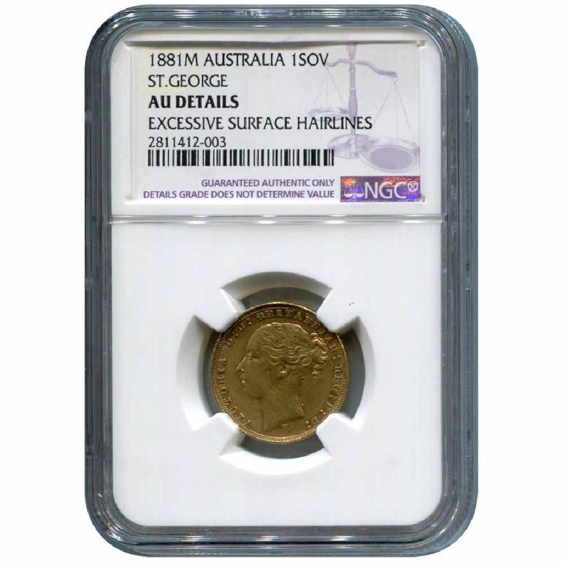 Australia gold sovereign 1881M AU Details NGC