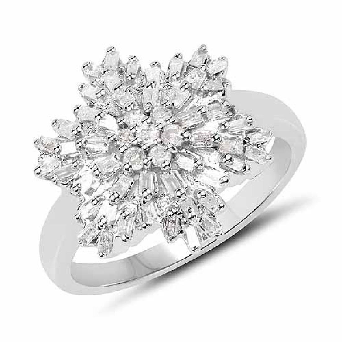 0.97 Carat Genuine White Diamond .925 Sterling Silver R