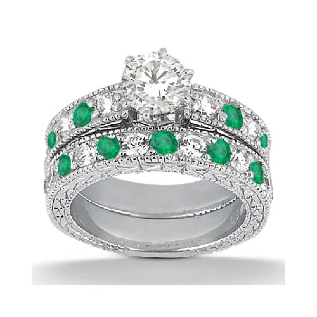 Antique Diamond and Emerald Bridal Set 14k White Gold (