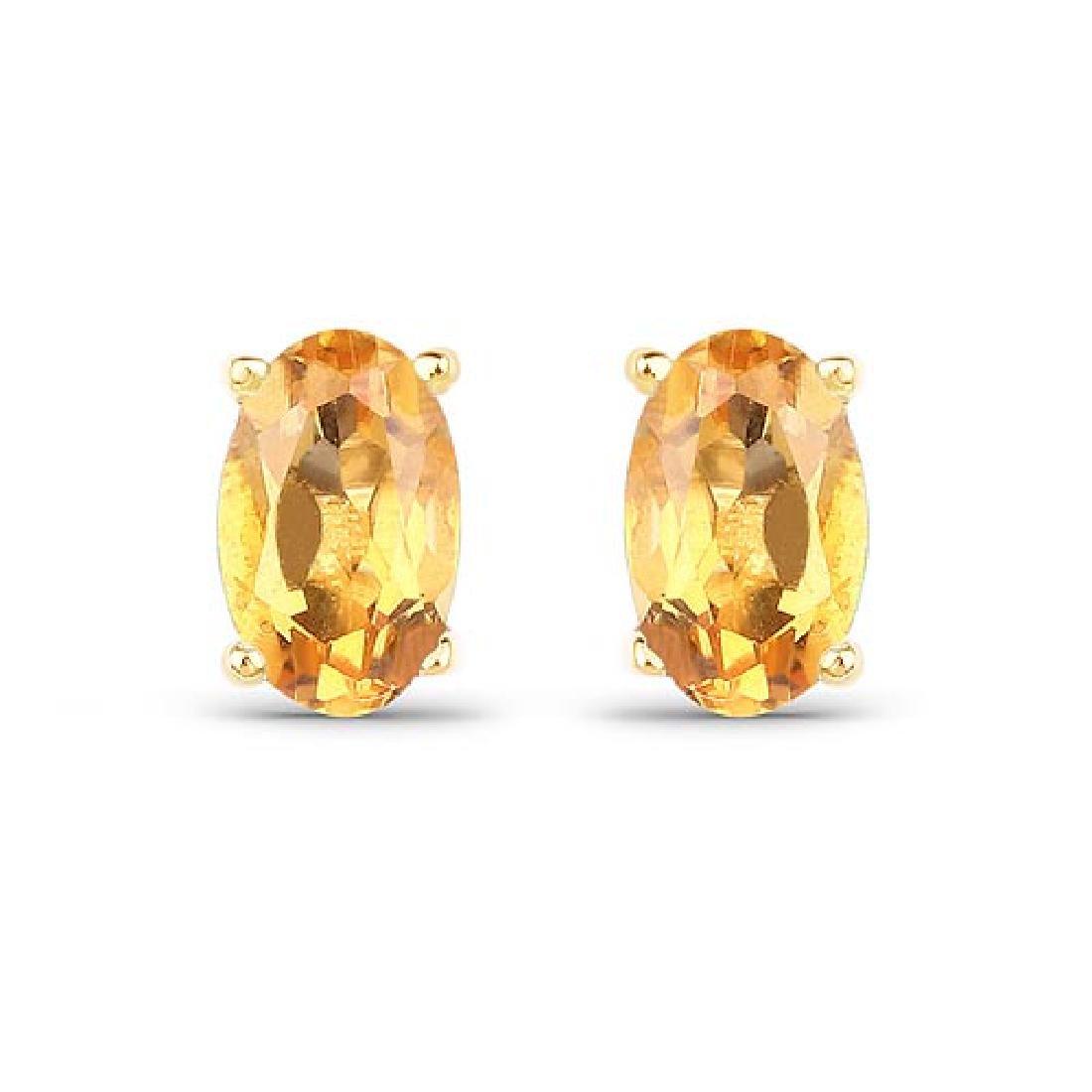 0.44 Carat Genuine Citrine 10K Yellow Gold Earrings