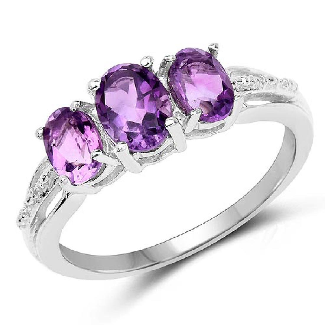 1.64 Carat Genuine Amethyst .925 Sterling Silver Ring