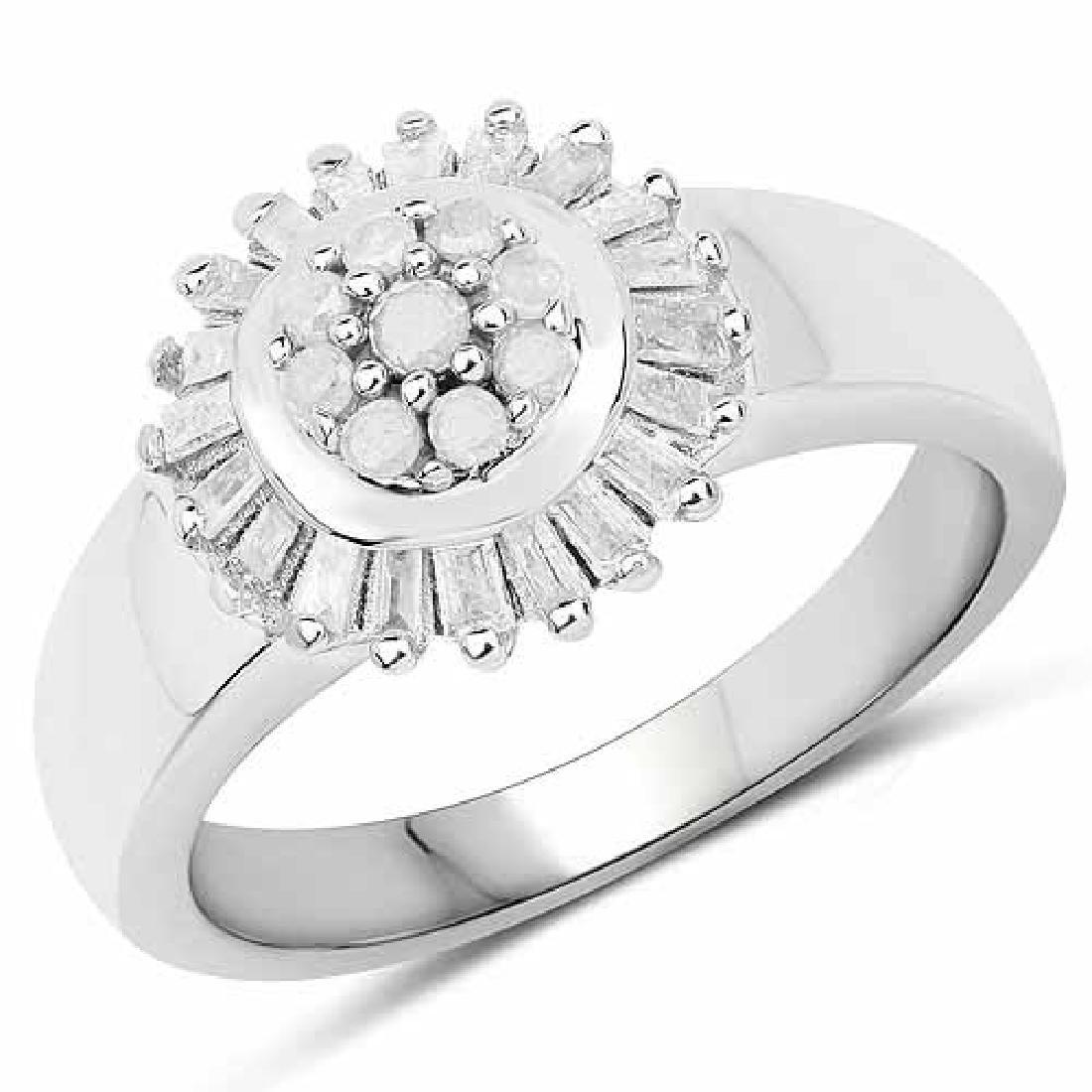 0.75 Carat Genuine White Diamond .925 Sterling Silver R