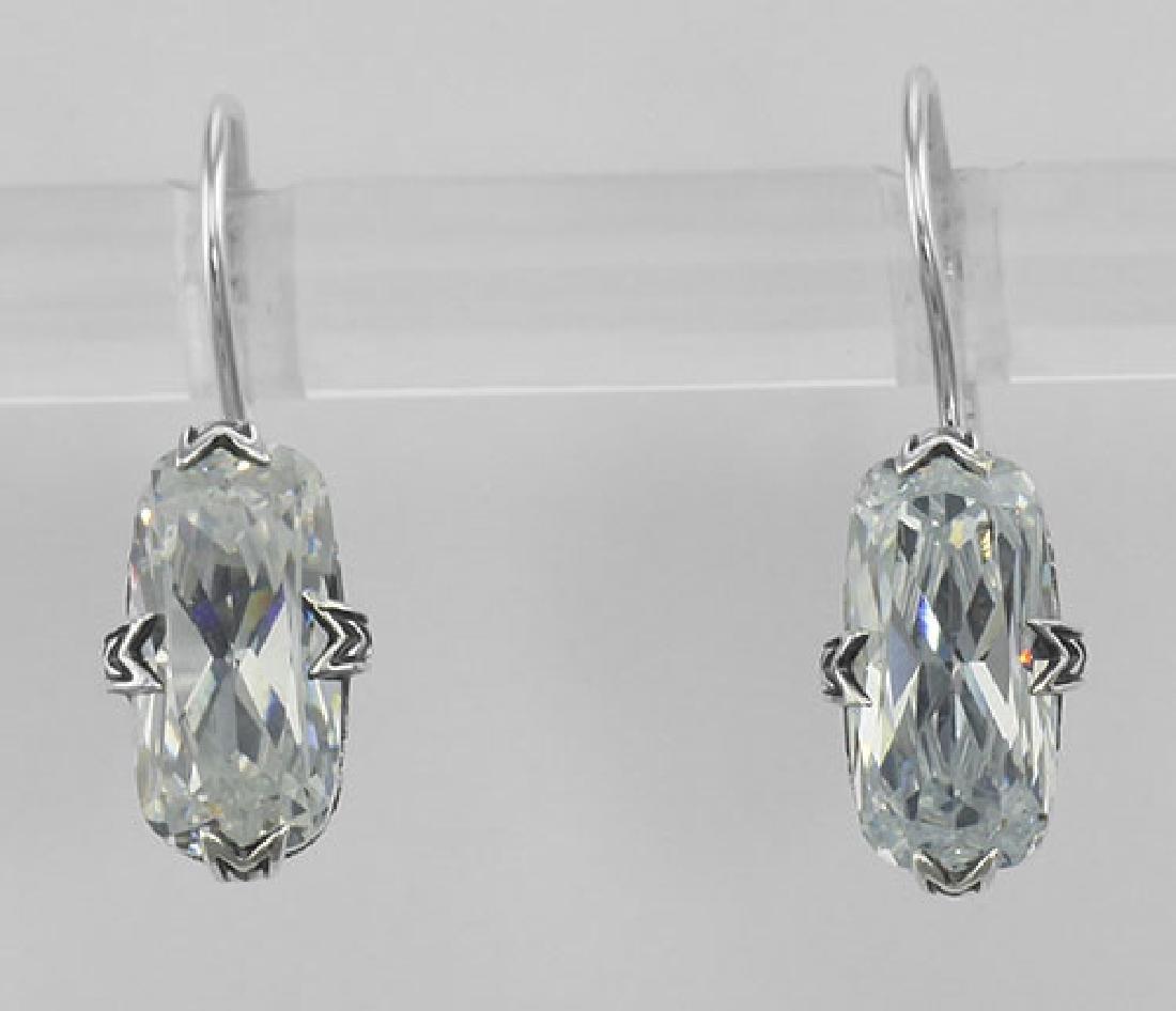 Cubic Zirconia Filigree Earrings - Sterling Silver