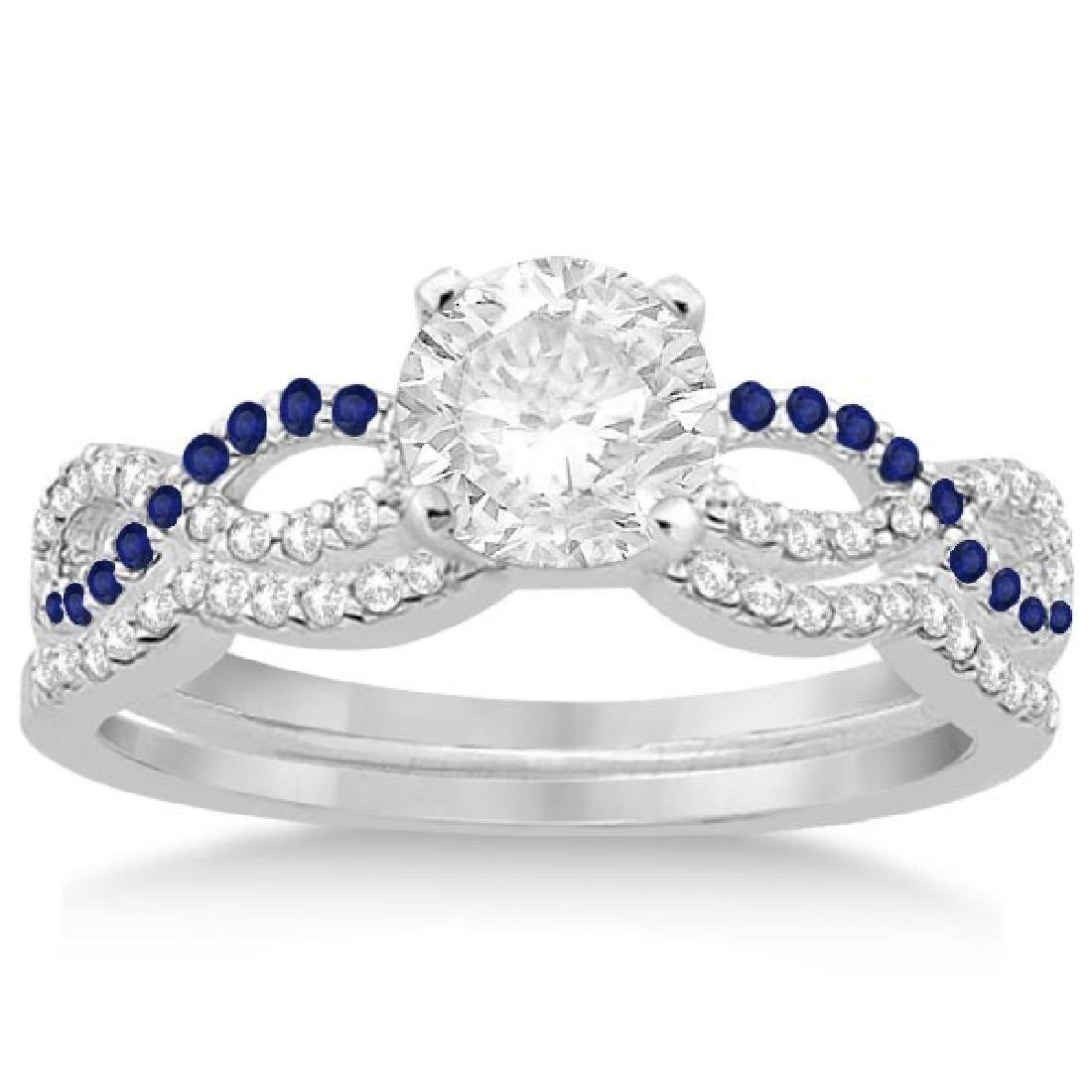 Infinity Diamond and Blue Sapphire Bridal Set 14K White