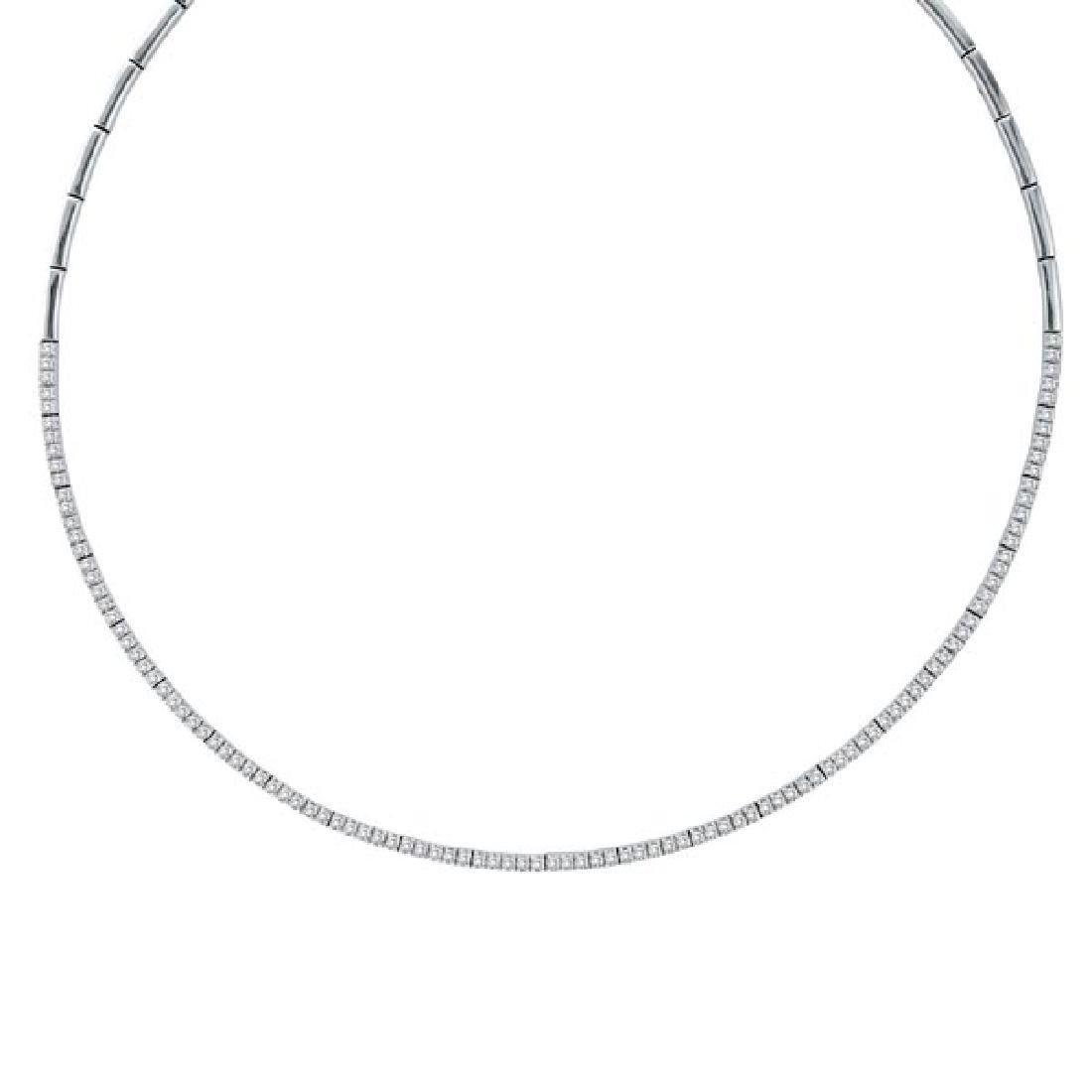 Diamond Tennis Choker Necklace in 14k White Gold (2.31c